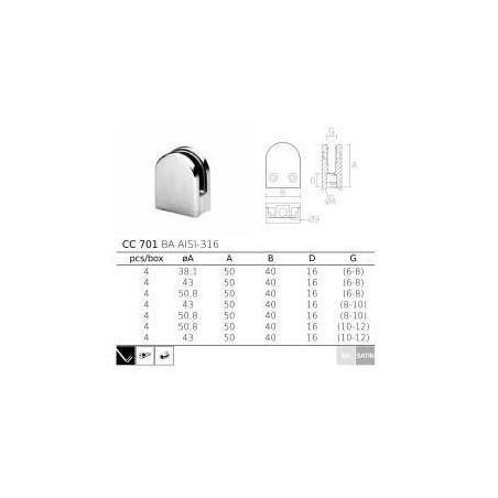 Pinza vidrio CC-701 de acero inoxidable para poste redondo