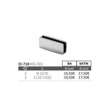Pinza vidrio CC-710 de acero inoxidable para poste cuadrado de barandilla de Comenza