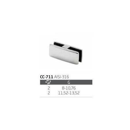 Pinza doble de vidrio CC-711 de acero inoxidable para poste cuadrado de barandilla