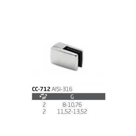 Pinza vidrio CC-712 de acero inoxidable para poste cuadrado de barandilla