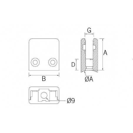 Pinza vidrio CC-721 de acero inoxidable para poste cuadrado de barandillas