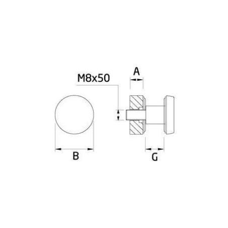 CC768 Botón para barandillas de cristal - barmet.es plano