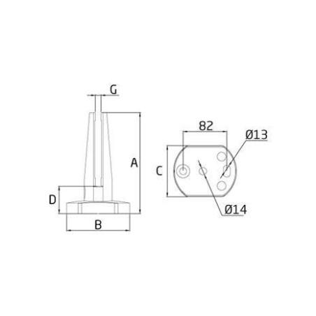 Medidas Pinza de suelo para barandillas de cristal cc-782