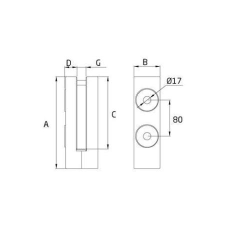Medidas Pinza lateral para barandillas de vidrio cc-791