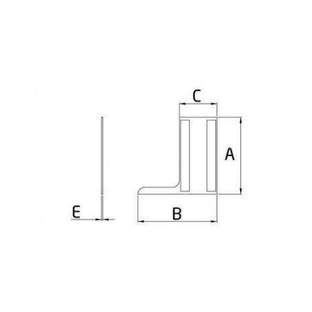 Medidas Tapa lateral en aluminio tramos rectos para perfil de barandilla de cristal GlassFit SV-1403