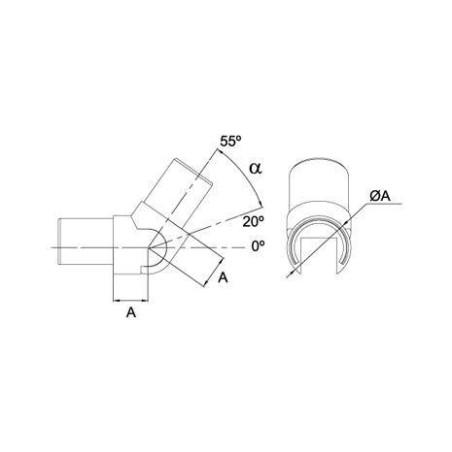 Plano Conector regulable para pasamanos de vidrio sa-416