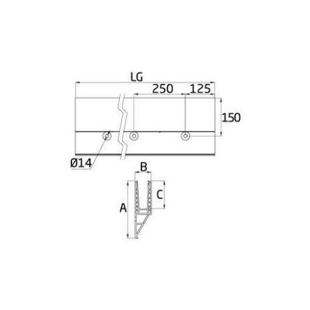 Medidas Perfil de suelo montaje lateral para sistema de barandilla de cristal GlassFit SV-1404
