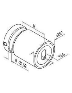 Adaptador para vidrio inoxidable 0749 D50mm plano-vidrio plano
