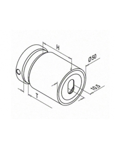 Adaptador para vidrio inoxidable 0749 D50mm plano-vidrio