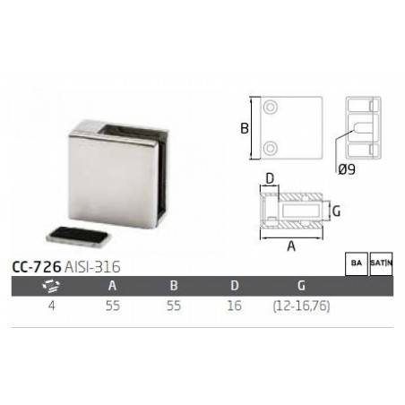 Pinza vidrio CC-726de acero inoxidable para poste cuadrado de barandilla