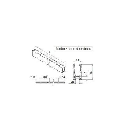 Plano Perfil para suelo en aluminio, Easy Glass Up montaje superior 5000mm