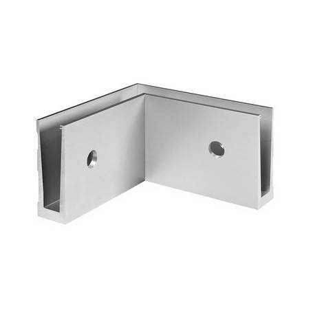 Esquinero 90°, Easy Glass Slim, montaje lateral, interior - Aluminio pulido