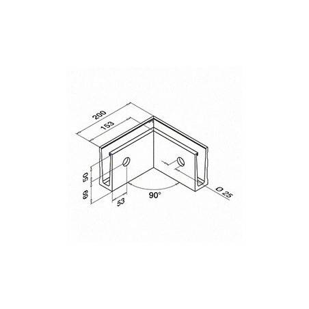 Medidas Esquinero 90°, Easy Glass Slim, montaje lateral, interior - Aluminio pulido