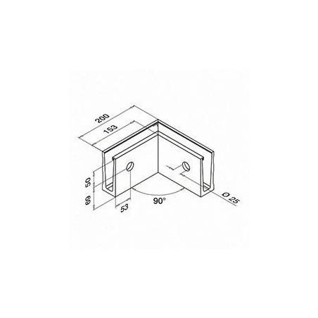 Medidas Esquinero 90°, Easy Glass Slim, montaje lateral, exterior - Aluminio pulido