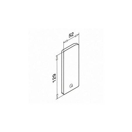Medidas Tapón de acabado, Easy Glass Slim, montaje lateral, en zamac, izquierda