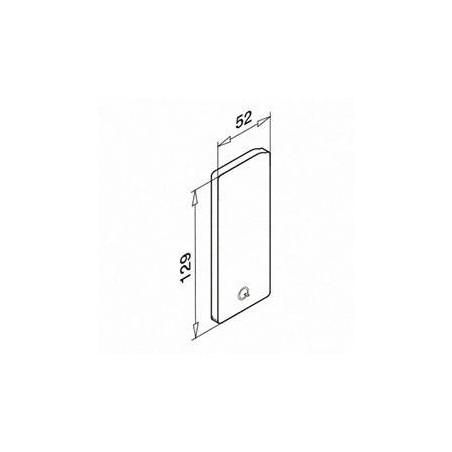 Medidas Tapón de acabado, Easy Glass Slim, montaje lateral, en zamac, derecha