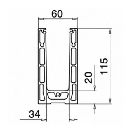 Medidas Perfil suelo, Easy Glass Smart, montaje superior