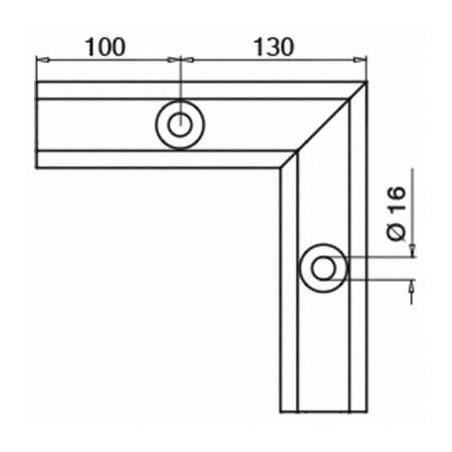 Medidas Esquinero 90°, Easy Glass Smart, montaje superior