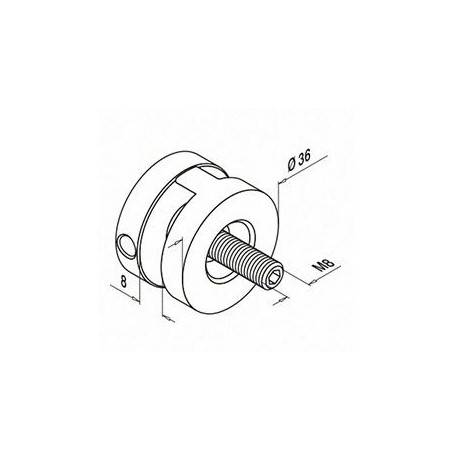 Soporte de cable de inoxidable para poste cuadrado o pletina 7356 plano