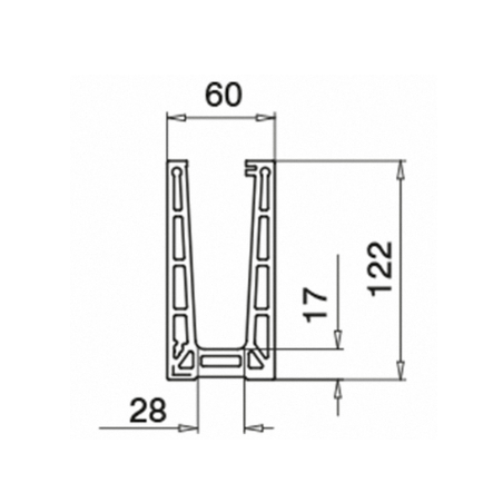 Plano Esquina Interior 90º Easy Glass PRO montaje superior Mod 6313 Aluminio
