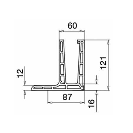 Plano Perfiles para suelo montaje superior  Easy Glass PRO F