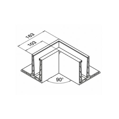 Plano Mod6313 Esquinero 90º Interior montaje superior Aluminio Easy Glass PRO F