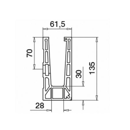 Plano Perfil para suelo montaje lateral Aluminio 6915