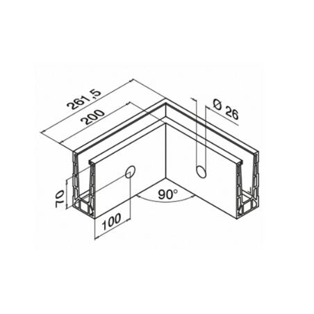 Dibujo dimensiones Esquinero 90º 6315 montaje lateral aluminio