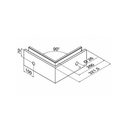 dimensiones de esquinero 90º exterior para sistema de barandillas de vidrio