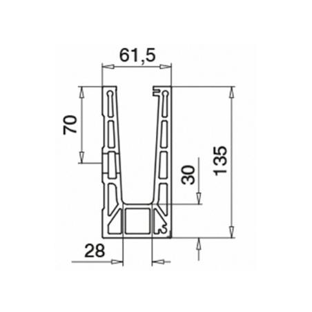 dimensiones del lateral del esquinero 90º para sistema de barandillas de vidrio en aluminio montaje lateral exterior