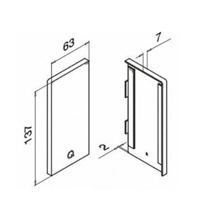 Medidas tapa final perfil Easy Glass Pro montaje lateral modelo 6735 lateral derecho