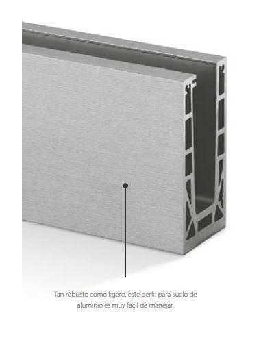 Perfil para suelo barandilla vidrio montaje superior 6926 Easy Glass Max 2500mm