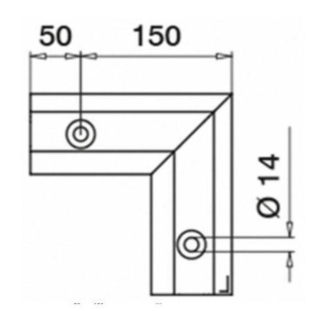 Plano Esquina exterior 90º Easy Glass Max montaje superior 6314 Aluminio