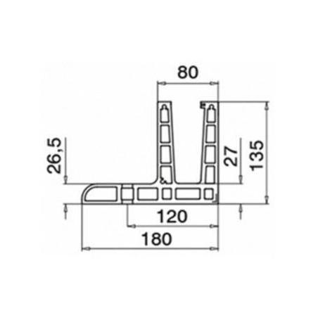 Plano Conector 6313 esquina interior 90º para perfil Easy Glass Max F Aluminio