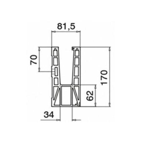Plano Conector 6315 esquina interior 90º montaje lateral - Aluminio