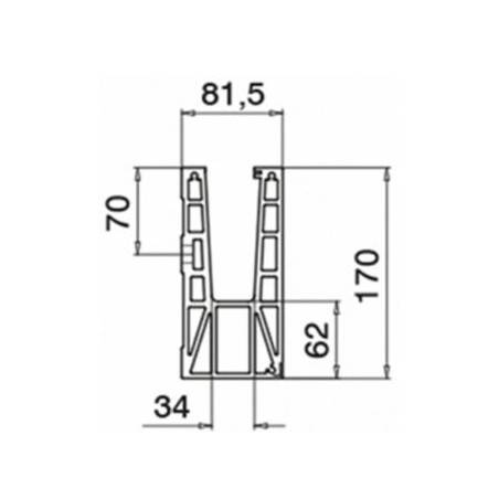 Plano Conector 6316 esquina exterior 90º para perfil Easy Glass Max montaje lateral -Aluminio
