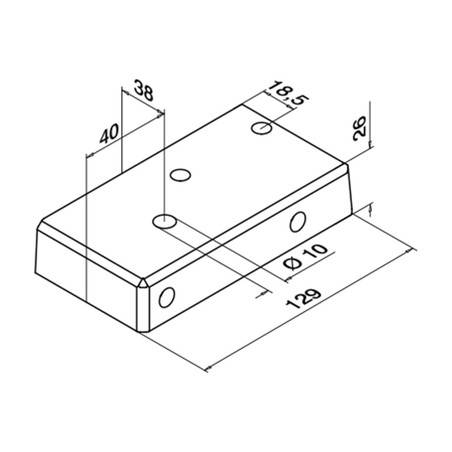 Plano Base para postes de barandilla de aluminio 9026 Izquierdo montaje superior