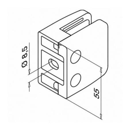 Plano Pinza para vidrio mod 26 para tubo plano en acero Inox. AISI 304 y 316