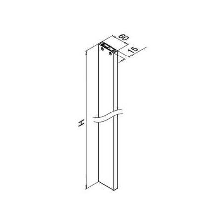 Plano Poste de barandilla Aluminio 0560 Easy Alu, montaje lateral