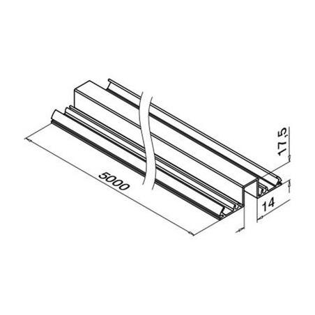 Plano Perfil Superior de aluminio 5000mm para vidrio 5951