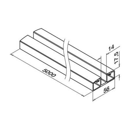 Plano Perfil Inferior de aluminio 5000mm para barandilla de vidrio 5952