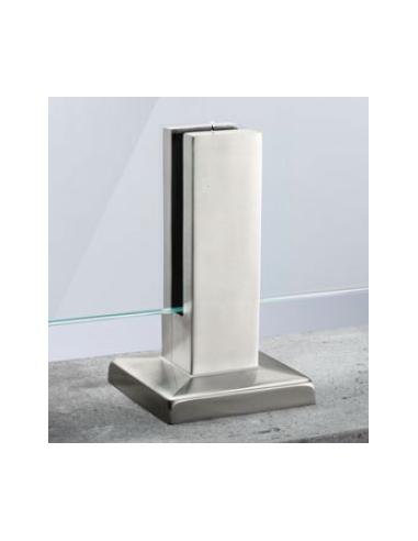Pinza al suelo cuadrada de acero inoxidable para sistema de barandilla de vidrio modelo 62