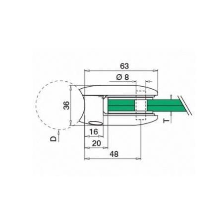 Plano Pinza para vidrio mod 28 zamac para tubo redondo o plano
