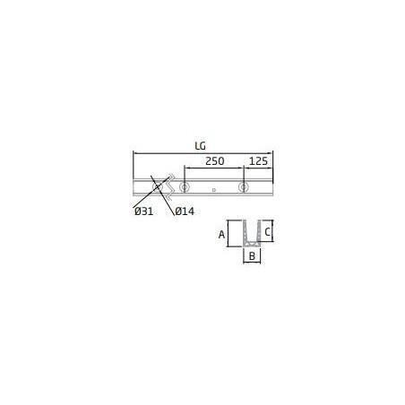 """Plano Perfil en """"U"""" GlassFit Flow SV-1501 Top"""