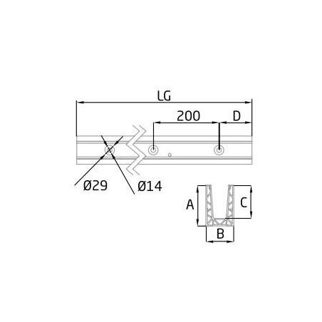 """Plano Perfil en """"U"""" GlassFit Flow SV-1801 Top"""