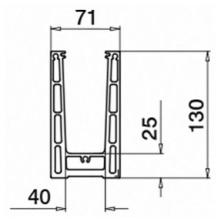 Plano para el Kit Barandilla de vidrio a suelo Easy Glass Prime de montaje lateral 5000mm tramo en recto