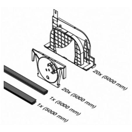 Planos del kit de cuñas del Kit Barandilla de vidrio a suelo Easy Glass Prime de montaje lateral 5000mm tramo en recto