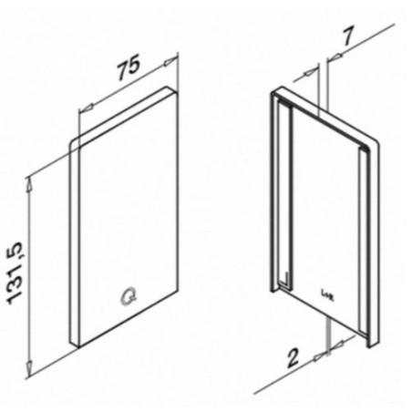 Plano de la tapa del Kit Barandilla de vidrio a suelo Easy Glass Prime de montaje lateral 5000mm tramo en recto
