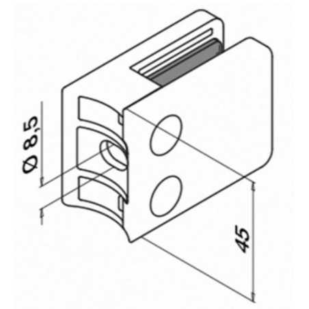 Plano Pinza para vidrio con gomas mod 42 acero inox AISI304/316 para tubo redondo - Qrailing