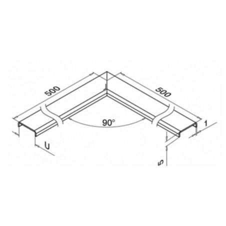 Plano Conector 90º protector de bordes en acero inox. AISI316 Mod.6340 - Qrailing